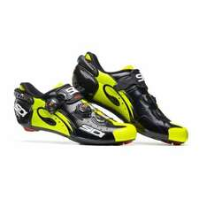 Sidi 2018 Men's Wire Vent Carbon Road Cycling Shoes - BLACK / FLO YELLOW -