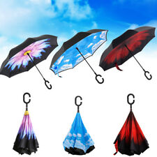 C-Handle Reverse Umbrella Double Layer Windproof Upside Down Inside-Out Inverted