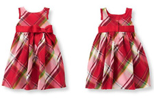 Janie and Jack Red Plaid Holiday Photo 100% silk Dress, Size  2T & 3T ~NWT~