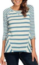 NEW - OSO Casuals® Striped Knit 3/4 Raglan Sleeved Round Neck Side Inset Top