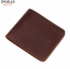 VICUNA POLO® Famous Brand Men Genuine Leather Wallet Vintage Crazy Horse Leather