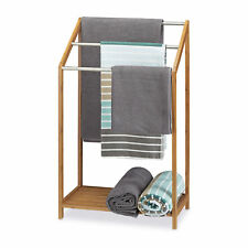 Bamboo Towel Rack Towel Stand Freestanding Towel Holder 3 Rails with Shelf