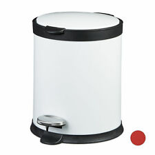 Foot Pedal 12L Waste Bin Wastebasket Trash Can Red White Stainless Steel Rubbish