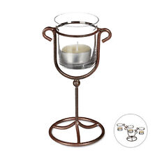 Candle Holder Tea Light Holder Cast Iron Single or Triple Holder, Metal & Glass