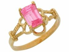 10k or 14k Yellow Gold Simulated Pink Topaz Vintage Look Cute Baby and Kids Ring
