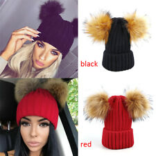 Womens Braided Crochet Wool Knit Beanie Beret Ski Ball Cap Baggy Winter Warm Hat