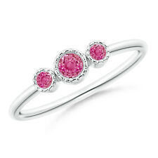 Bezel Set Round Pink Sapphire Three Stone Ring 14k White Gold/ Silver