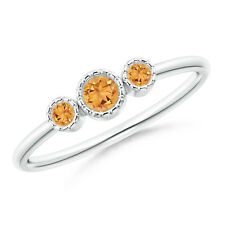 Bezel Set Round Citrine Three Stone Ring 14k White Gold/ Silver Size 3-13
