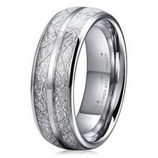 Mens Imitated Meteorite Tungsten Wedding Domed Wedding Band Engagement 8mm Ring