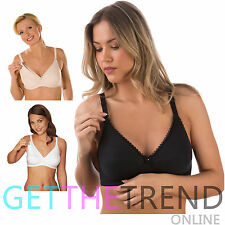 1,2 Pack Ladies Maternity Nursing Bra Firm Control Women Soft Cup Non Wired Bras