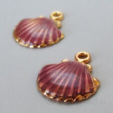 Scallop Shell 18mm Gold Plated Purple Enamel Beach Charms C1799 - 2, 5 Or 10PCs