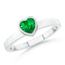 Solitaire Heart Emerald Promise Ring 14k White Gold / Platinum Size 3-13