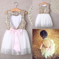 3-10Y Children Baby Girl Dress Mini Ball Formal Bow Backless Gown Dress Girl