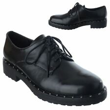 LADIES SHOES WOMENS LACE UP STUD BROGUES LOAFERS SCHOOL OFFICE WORK SHOES SIZE