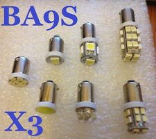 3 x LED BULBS BA9S 233 T4W White Interior Side Lights Classic Car Camper Number