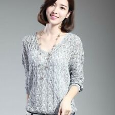 Women Bat Sleeve Casual Hollow Out Transparent Thin Sweater NEW774