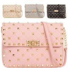 Ladies Studded Satchel Bag Quilted Shoulder Bag Saddle Bag Fashion Handbag KL876