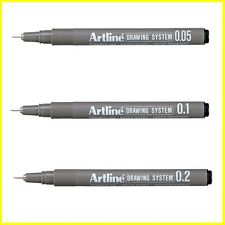 Artline Drawing System Technical Graphic Marker Pen BLACK - Select 1 or 3 or ALL