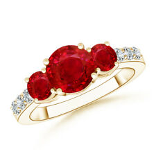 Three Stone Round Ruby Ring with Diamond Accents 14K Yellow Gold