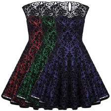Vintage 1950's 60s Pinup LACE Taffeta Housewife Party Swing XMAS Dress Ball Gown