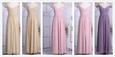 Chiffon Women's Off The Shoulder Pleated V Neck Long Bridesmaid Dress Prom Gown
