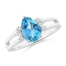 Solitaire Pear Swiss Blue Topaz Diamond Ring 14k White Gold Size 3-13
