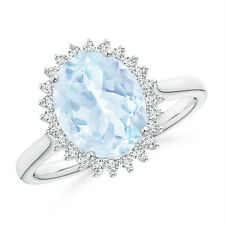 Vintage Style Natural Oval Aquamarine Diamond Cocktail Ring 14k White Gold