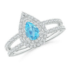 Pear Shape Swiss Blue Topaz Diamond Halo Wedding Ring 14k White Gold/ Platinum