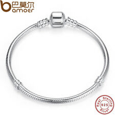 BAMOER Authentic 100% 925 Sterling Silver Snake Chain Bangle & Bracelet Jewelry