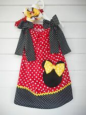 Handmade Minnie Mouse Pillowcase Dress with Headband Various Toddler Girl Sizes