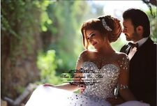 NEW White Long Sleeve Wedding Dress Bridal Ball Gown Size 4-6-8-10-12-14-16-18