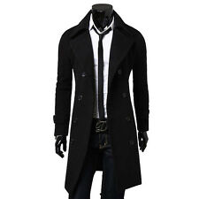 Mens Vogue Slim Fit Trench Coat Winter Long Jacket Double Breasted Overcoat