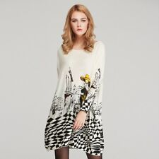 Women Sweater Casual Coat Batwing Sleeve Print Pullovers Fashion Pullover