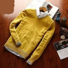 Men Yellow Color Casual Winter Wearcotton Fabric Long Sleeve V-neck Sweater