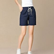 Women Fashion Pleated Loose Cotton Linen Fabric High Waist Shorts