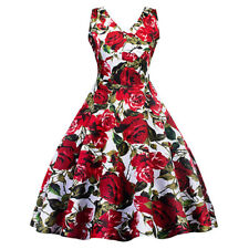 A50s Rockabilly Swing udrey Hepburn Evening Pin Up Retro Floral Prom Party Dress