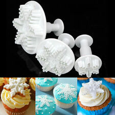 3pcs Snowflake Plunger Cutter Mold Sugarcraft Fondant Cake Decorating Tool New