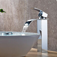 Contemporary Waterfall Single Hole Vessel Bathroom Washing Filler Sink Faucet