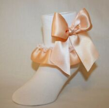 Girls White Stretch Cotton Ruffle Socks with Peach Satin Ribbon and Bows Bailey