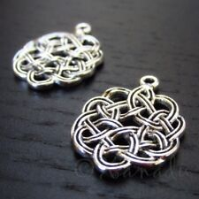 Celtic Knots 24mm Antiqued Silver Plated Pendant Charms C7170 - 10, 20 Or 50PCs