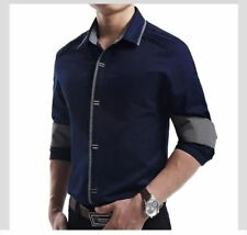 Solid Color Casual Style Slim Fit Long Sleeve Turn-down Collar Shirt for Men