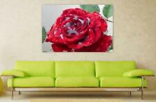 Canvas Poster Wall Art Print Decor Rose Red Red Rose Rain Drip Wet