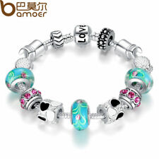Silver Charm Bracelet Bangle Women with Murano Beads Love DIY Fashion Jewelry