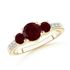 Three Stone Round Garnet Ring with Diamond Accents 14K Yellow Gold