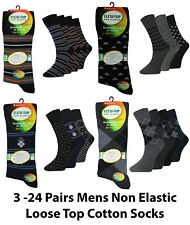 3 Pairs Mens Non Elastic Loose Top Cotton Everyday Diabetic Socks Lot Size 6-11