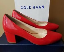 Womens Cole Haan Eliree Pumps Red Goji Berry Patent Heels Suede Leather Shoes