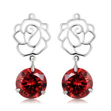 Hollow Flower Red Stone Dangle Earring 18K Gold Plated Crystal Jewelry