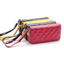 Women Double Zipper Rhombus Leather Wallet Bag Case Clutch Card Holder Purse New