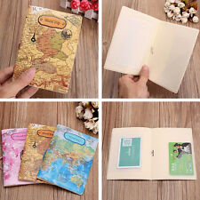 PU Leather World Map Passport Holder Travel Card Case Document Cover BH