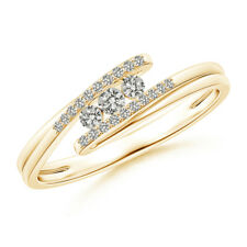 Three Stone Round Diamond Twin Bypass Ring 14K Yellow Gold